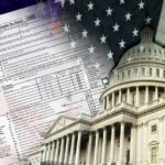 IRS Form 1040 and the American Flag